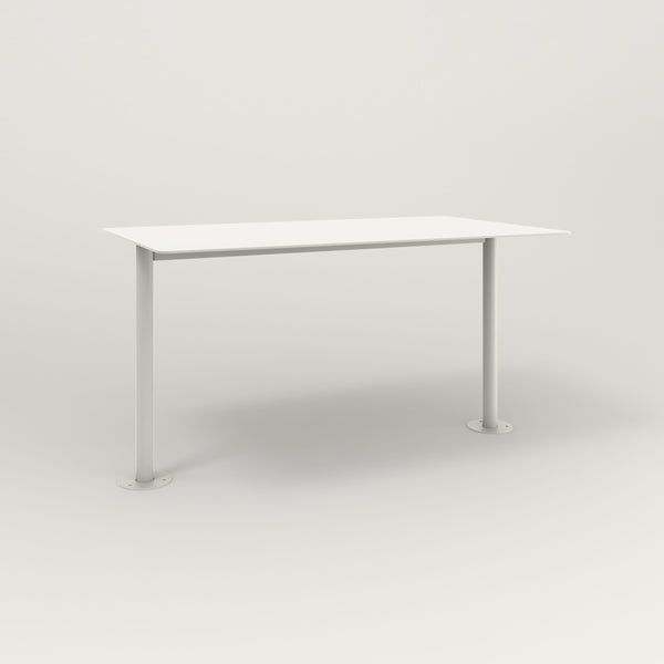 RAD Cafe Table, Rectangular Bolt Down Base T Leg in aluminum and white powder coat.