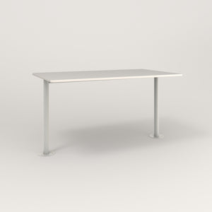 RAD Cafe Table, Rectangular Bolt Down Base T Leg in acrylic and white powder coat.