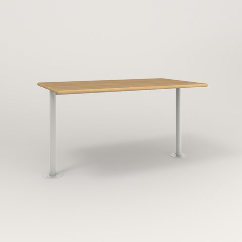 RAD Cafe Table, Rectangular Bolt Down Base T Leg in solid white oak and white powder coat.