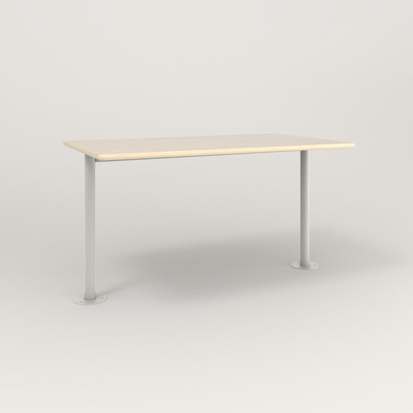 RAD Cafe Table, Rectangular Bolt Down Base T Leg in solid ash and white powder coat.