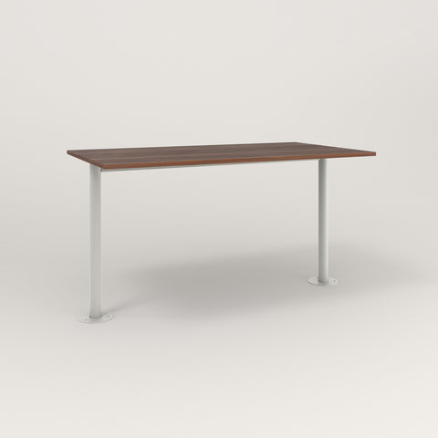 RAD Cafe Table, Rectangular Bolt Down Base T Leg in slatted wood and white powder coat.