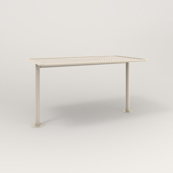 RAD Cafe Table, Rectangular Bolt Down Base T Leg in perforated steel and off-white powder coat.