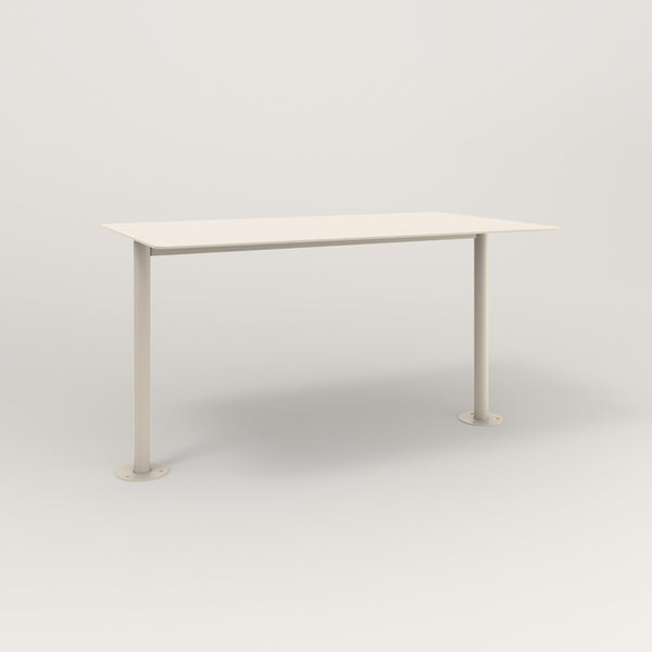RAD Cafe Table, Rectangular Bolt Down Base T Leg in aluminum and off-white powder coat.