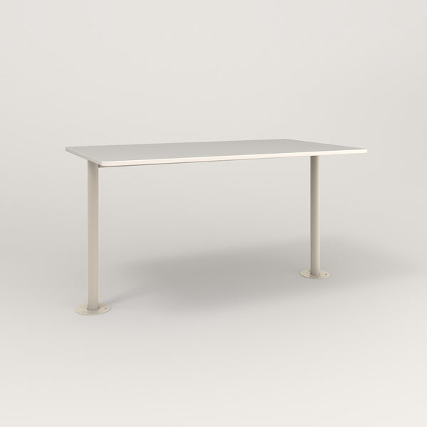 RAD Cafe Table, Rectangular Bolt Down Base T Leg in acrylic and off-white powder coat.