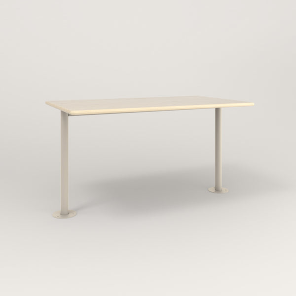 RAD Cafe Table, Rectangular Bolt Down Base T Leg in solid ash and off-white powder coat.