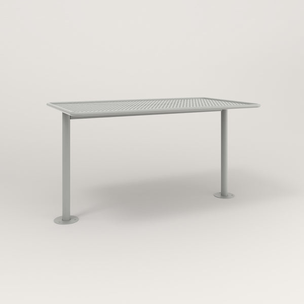 RAD Cafe Table, Rectangular Bolt Down Base T Leg in perforated steel and grey powder coat.