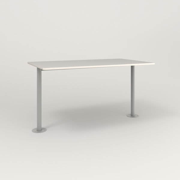 RAD Cafe Table, Rectangular Bolt Down Base T Leg in acrylic and grey powder coat.
