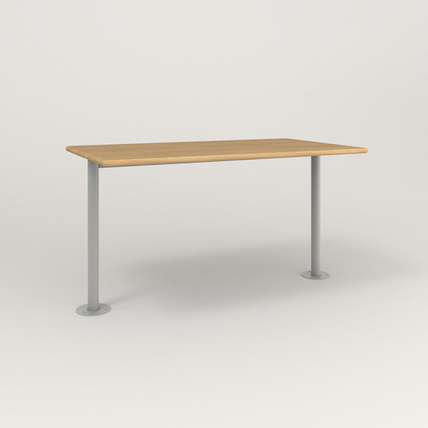 RAD Cafe Table, Rectangular Bolt Down Base T Leg in solid white oak and grey powder coat.