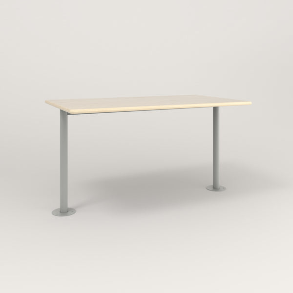 RAD Cafe Table, Rectangular Bolt Down Base T Leg in solid ash and grey powder coat.
