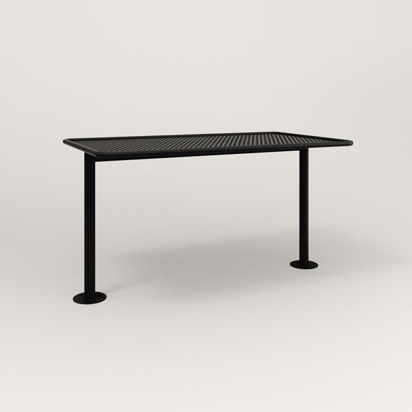 RAD Cafe Table, Rectangular Bolt Down Base T Leg in perforated steel and black powder coat.