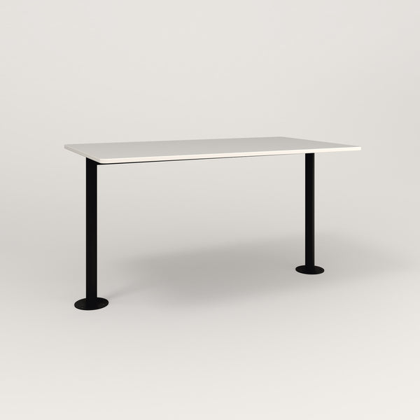 RAD Cafe Table, Rectangular Bolt Down Base T Leg in acrylic and black powder coat.
