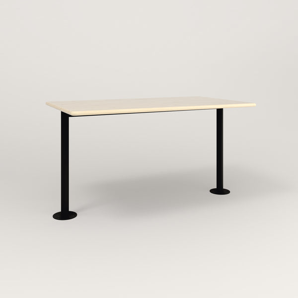 RAD Cafe Table, Rectangular Bolt Down Base T Leg in solid ash and black powder coat.