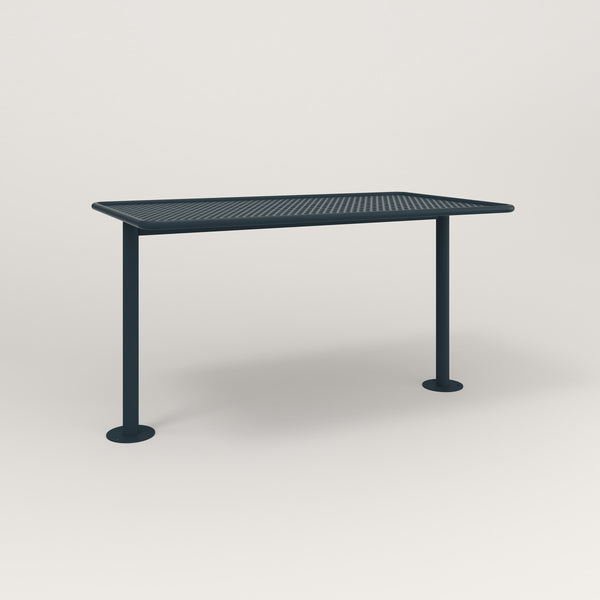 RAD Cafe Table, Rectangular Bolt Down Base T Leg in perforated steel and navy powder coat.