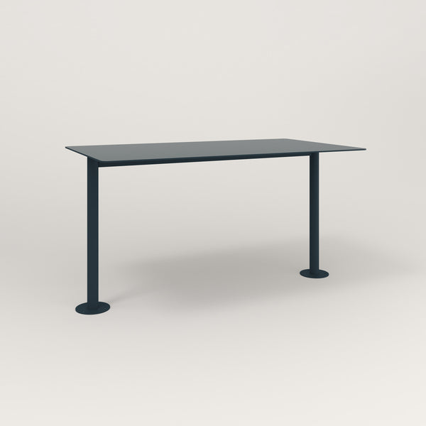 RAD Cafe Table, Rectangular Bolt Down Base T Leg in aluminum and navy powder coat.