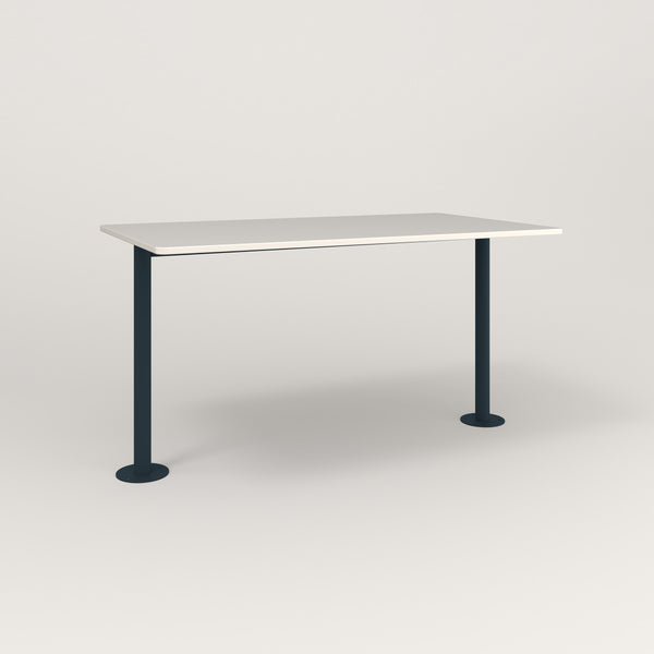 RAD Cafe Table, Rectangular Bolt Down Base T Leg in acrylic and navy powder coat.