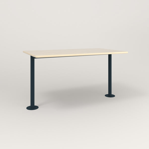 RAD Cafe Table, Rectangular Bolt Down Base T Leg in solid ash and navy powder coat.