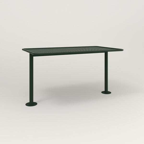 RAD Cafe Table, Rectangular Bolt Down Base T Leg in perforated steel and fir green powder coat.