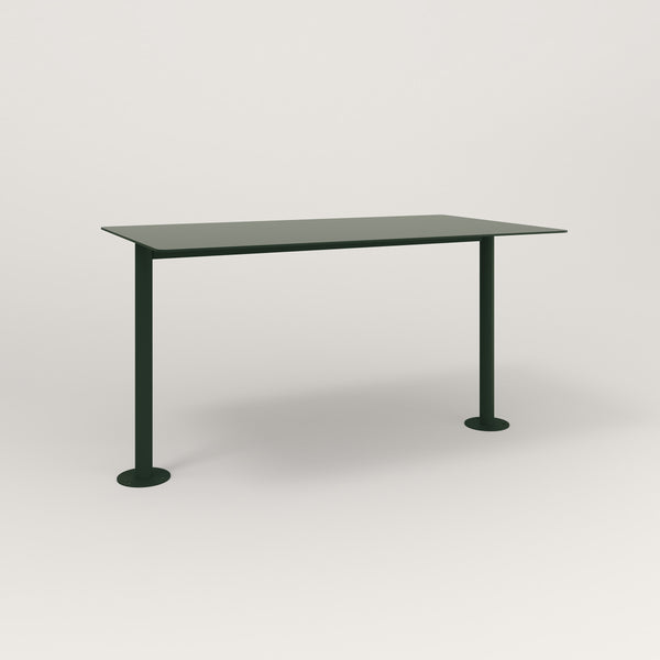 RAD Cafe Table, Rectangular Bolt Down Base T Leg in aluminum and fir green powder coat.