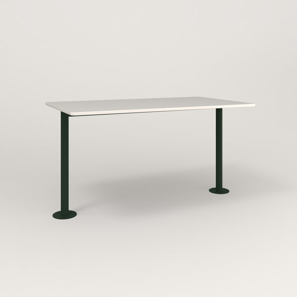 RAD Cafe Table, Rectangular Bolt Down Base T Leg in acrylic and fir green powder coat.
