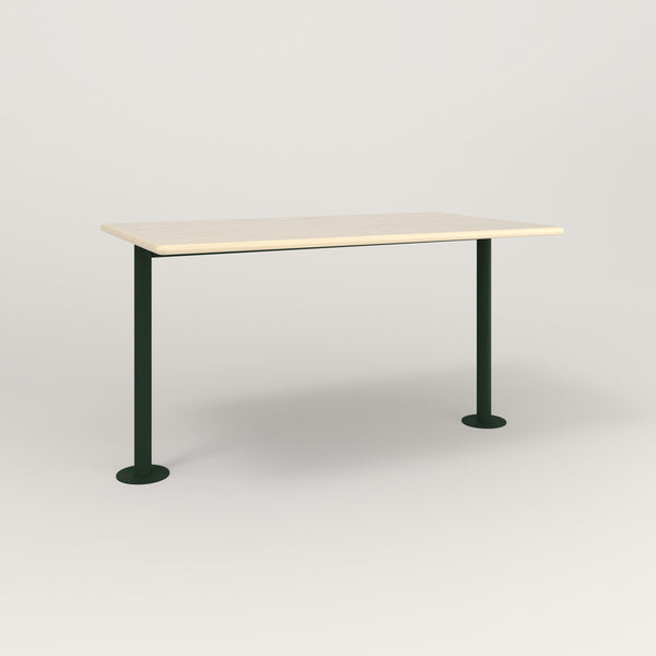 RAD Cafe Table, Rectangular Bolt Down Base T Leg in solid ash and fir green powder coat.