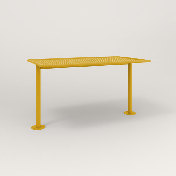 RAD Cafe Table, Rectangular Bolt Down Base T Leg in perforated steel and yellow powder coat.