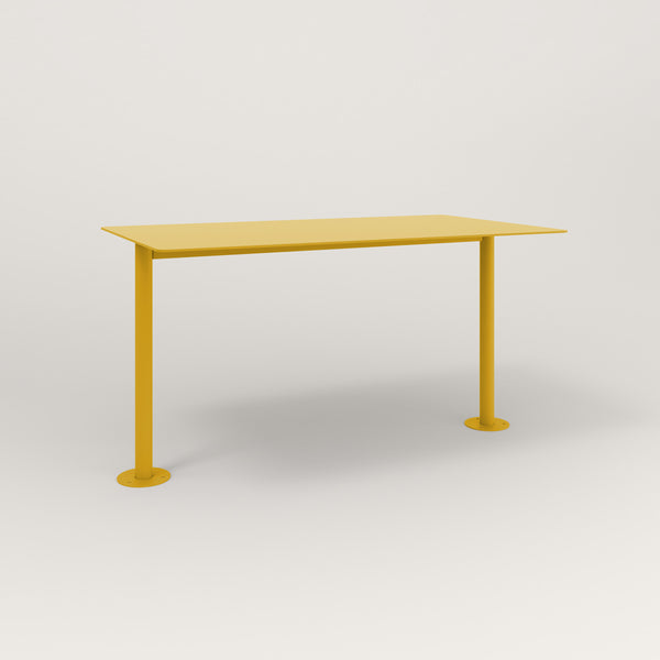 RAD Cafe Table, Rectangular Bolt Down Base T Leg in aluminum and yellow powder coat.