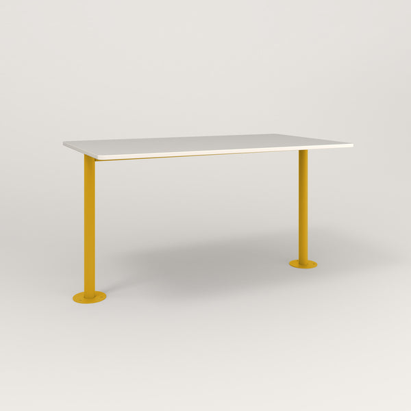 RAD Cafe Table, Rectangular Bolt Down Base T Leg in acrylic and yellow powder coat.