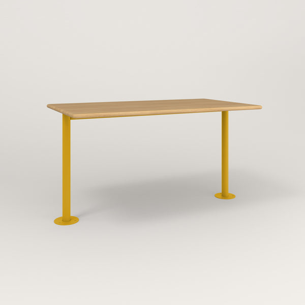 RAD Cafe Table, Rectangular Bolt Down Base T Leg in solid white oak and yellow powder coat.
