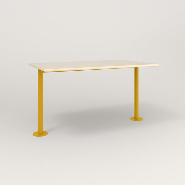 RAD Cafe Table, Rectangular Bolt Down Base T Leg in solid ash and yellow powder coat.