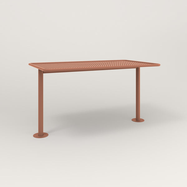 RAD Cafe Table, Rectangular Bolt Down Base T Leg in perforated steel and coral powder coat.