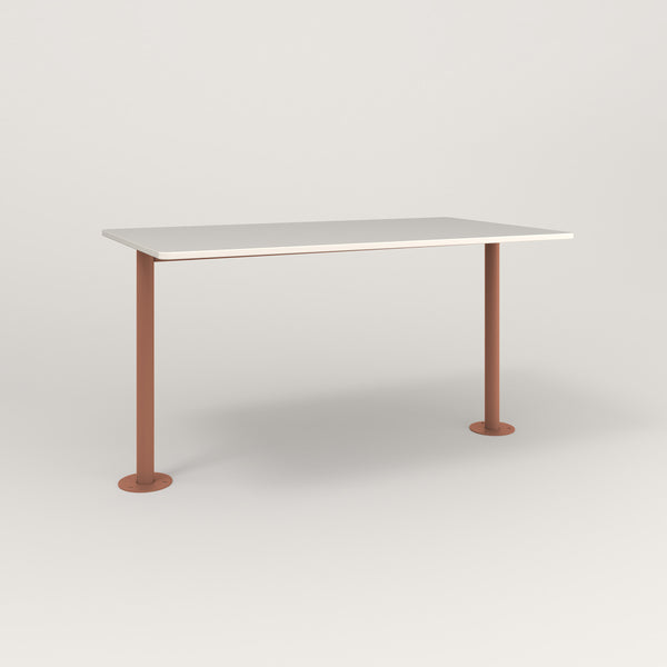 RAD Cafe Table, Rectangular Bolt Down Base T Leg in acrylic and coral powder coat.