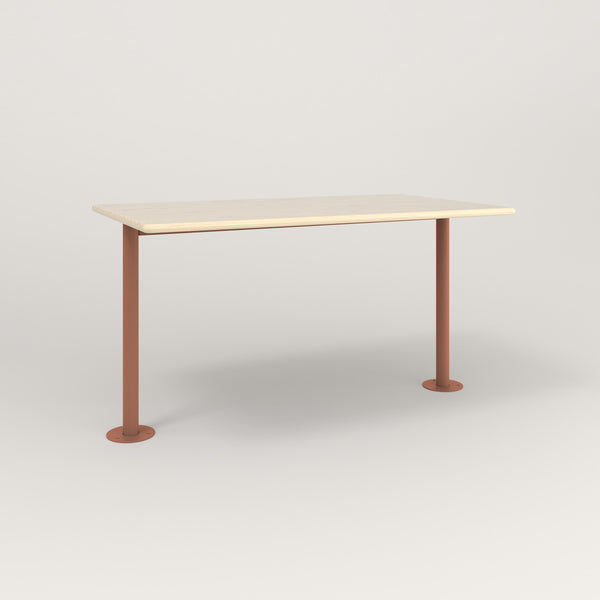 RAD Cafe Table, Rectangular Bolt Down Base T Leg in solid ash and coral powder coat.