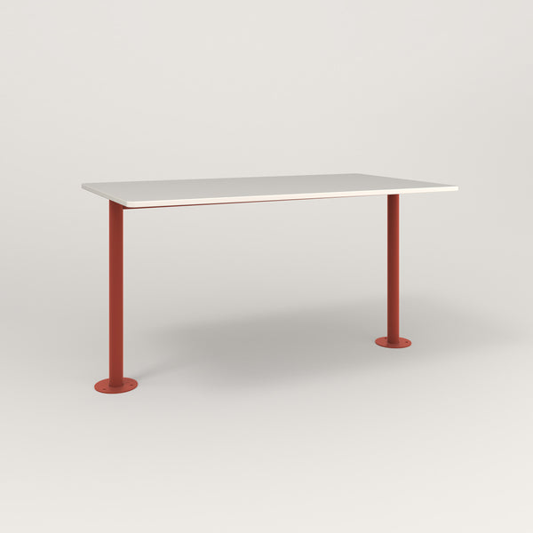 RAD Cafe Table, Rectangular Bolt Down Base T Leg in acrylic and red powder coat.