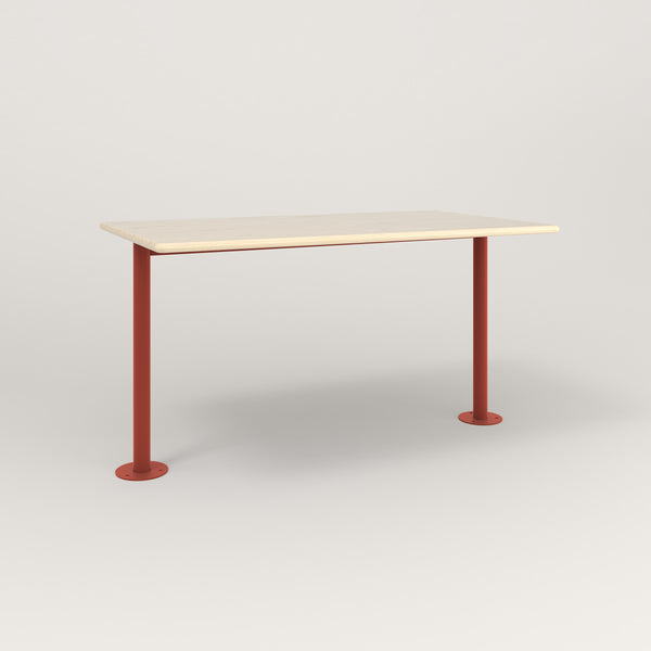 RAD Cafe Table, Rectangular Bolt Down Base T Leg in solid ash and red powder coat.