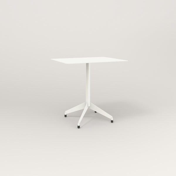 RAD Cafe Table, Rectangular Flat Four Point Base in aluminum and white powder coat.