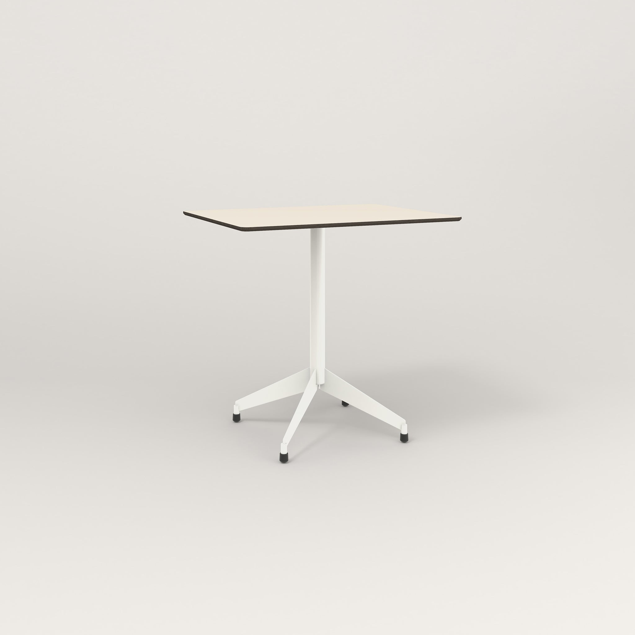 RAD Cafe Table, Rectangular Flat Four Point Base in hpl and white powder coat.