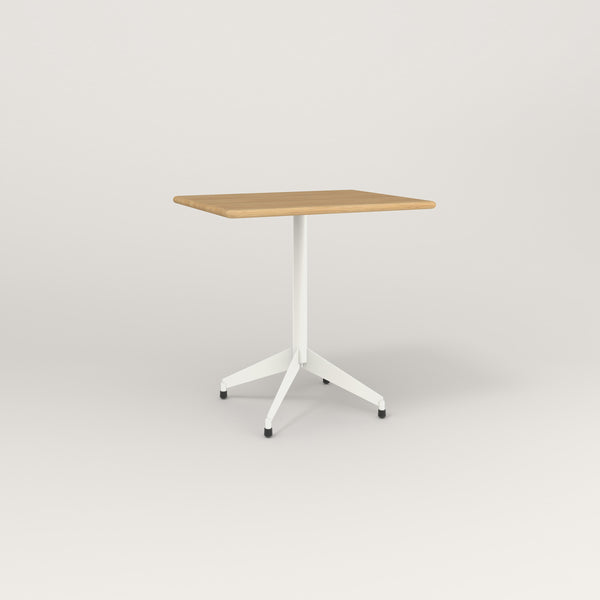 RAD Cafe Table, Rectangular Flat Four Point Base in solid white oak and white powder coat.