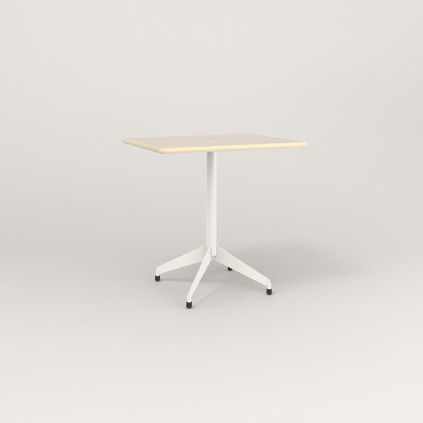 RAD Cafe Table, Rectangular Flat Four Point Base in solid ash and white powder coat.