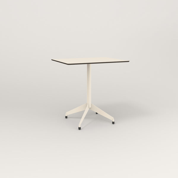 RAD Cafe Table, Rectangular Flat Four Point Base in hpl and off-white powder coat.