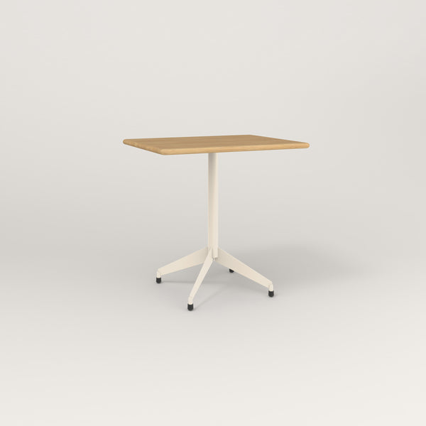 RAD Cafe Table, Rectangular Flat Four Point Base in solid white oak and off-white powder coat.
