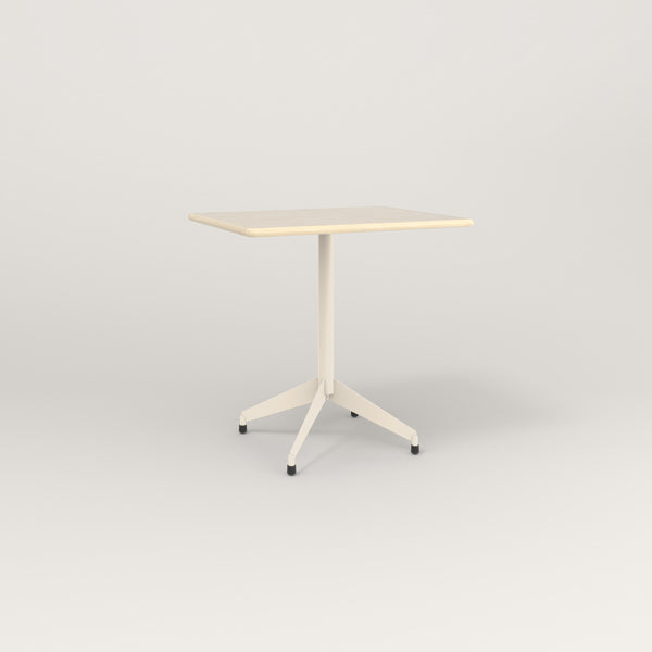 RAD Cafe Table, Rectangular Flat Four Point Base in solid ash and off-white powder coat.
