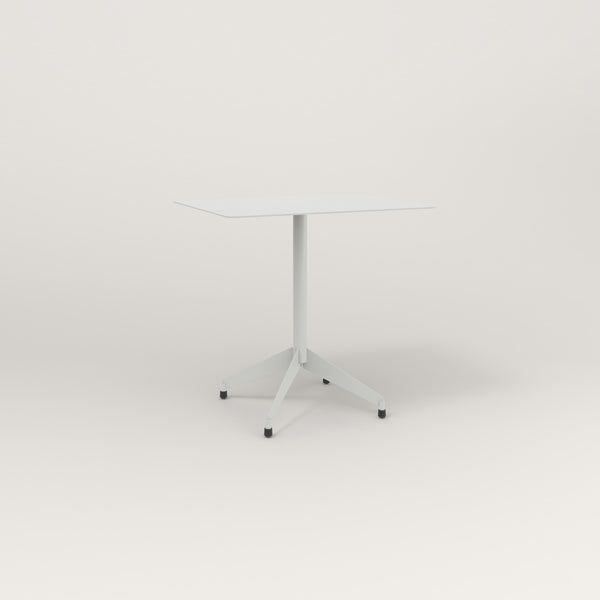 RAD Cafe Table, Rectangular Flat Four Point Base in aluminum and grey powder coat.