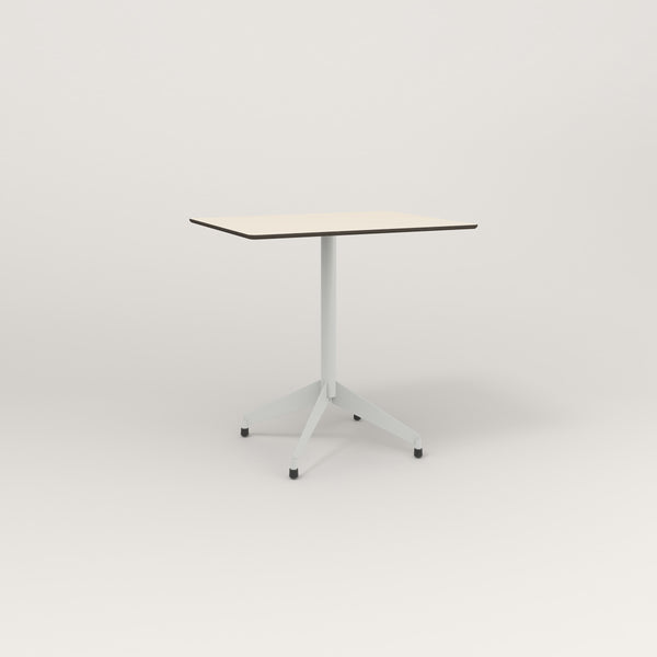 RAD Cafe Table, Rectangular Flat Four Point Base in hpl and grey powder coat.