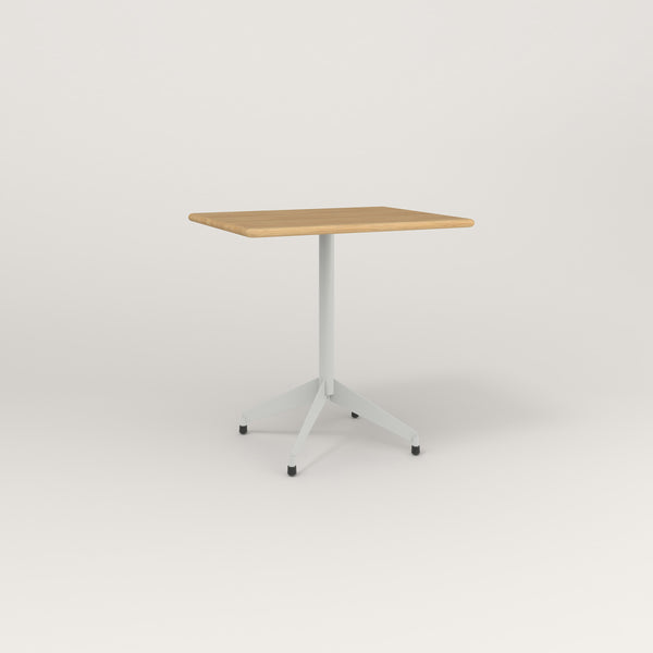 RAD Cafe Table, Rectangular Flat Four Point Base in solid white oak and grey powder coat.