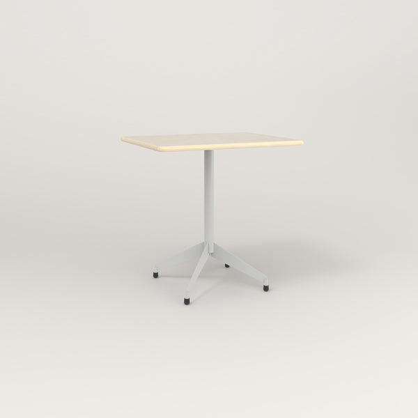 RAD Cafe Table, Rectangular Flat Four Point Base in solid ash and grey powder coat.