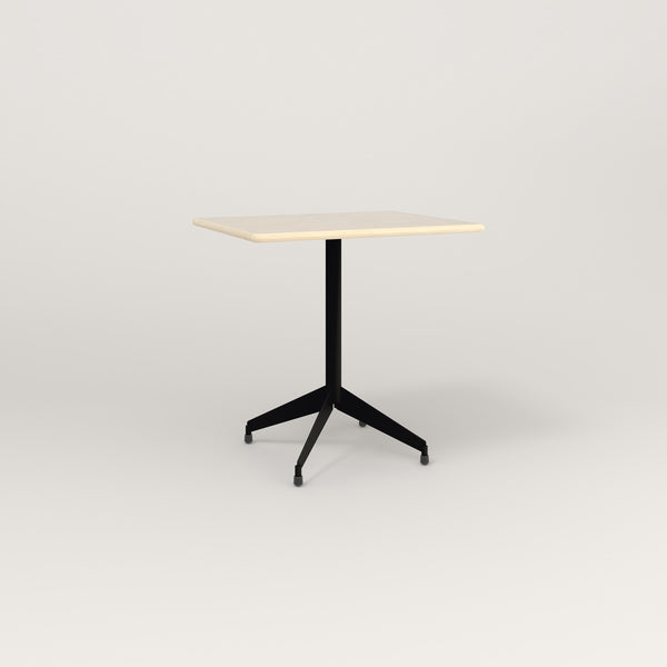 RAD Cafe Table, Rectangular Flat Four Point Base in solid ash and black powder coat.