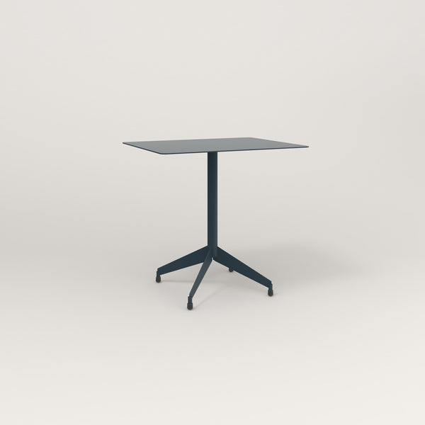 RAD Cafe Table, Rectangular Flat Four Point Base in aluminum and navy powder coat.