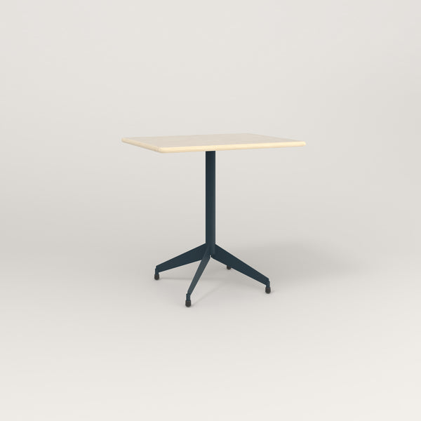 RAD Cafe Table, Rectangular Flat Four Point Base in solid ash and navy powder coat.