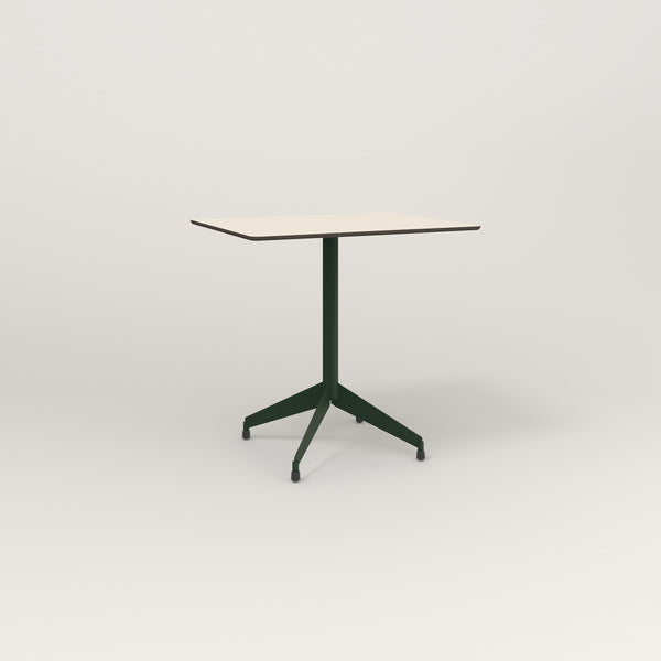 RAD Cafe Table, Rectangular Flat Four Point Base in hpl and fir green powder coat.