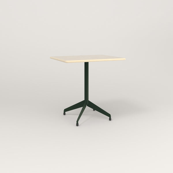 RAD Cafe Table, Rectangular Flat Four Point Base in solid ash and fir green powder coat.